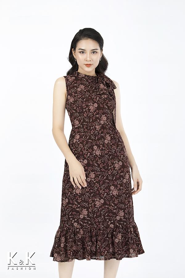 Đầm maxi họa tiết hoa xinh xắn HL03-04, giá 430.000 đồng.