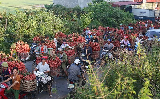 Chợ vùng cao tắc đường hàng cây số vì vải