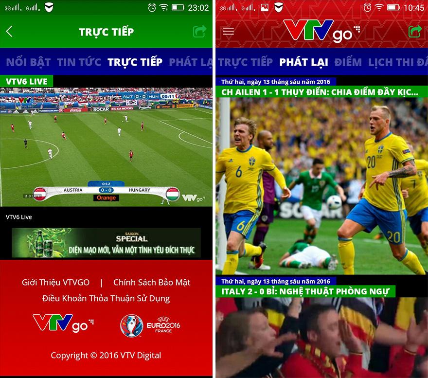 Giao diện ứng dụng VTVGo