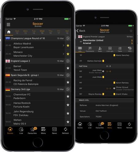 App quen thuộc LiveScore dành cho cả Android và iOS.