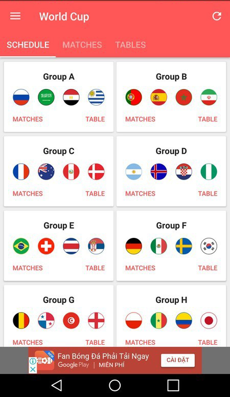 Giao diện ứng dụng World Cup 2018.