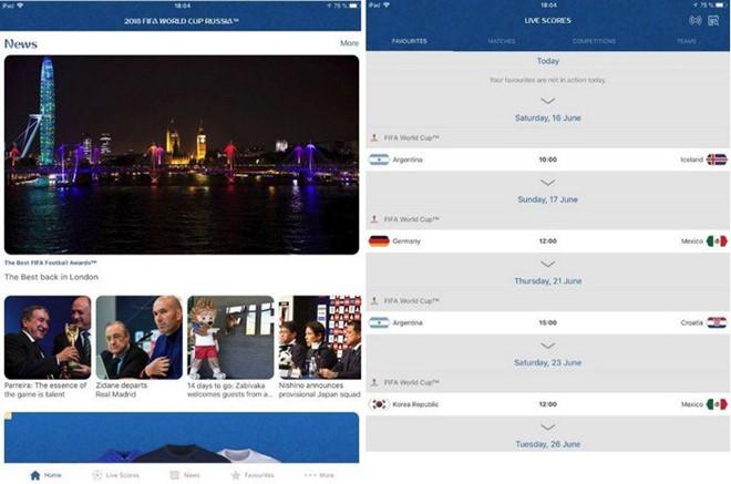 Ứng dụng World Cup FIFA 2018  dành cho iOS.